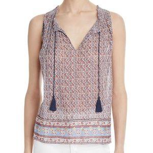 New Joie Alphee Printed Tie Front Sleeveless Top